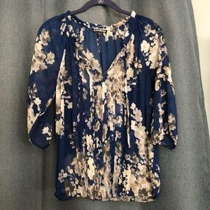 Express Floral Peasant Top - Blue - Sz Small